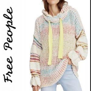 Free People Hoodie Sweater Pullover Stripe Tunic